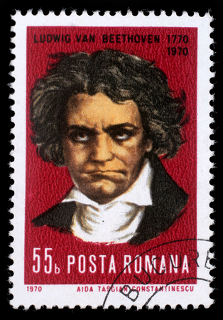 beethoven: Stamp printed by Romania, show Ludwig van Beethoven, Composer, circa 1970. Editorial