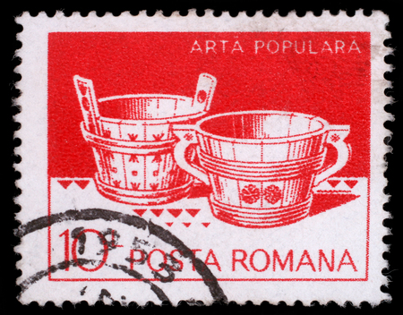 philatelic: Stamp printed in Romania shows Wooden tubs from Hunedoara and Suceava, circa 1982 Editorial