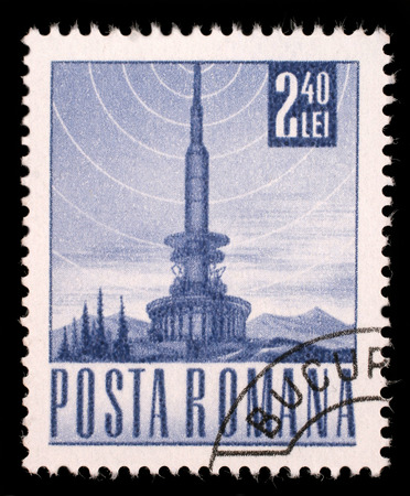 philatelic: Stamp printed in Romania shows Television tower, circa 1971