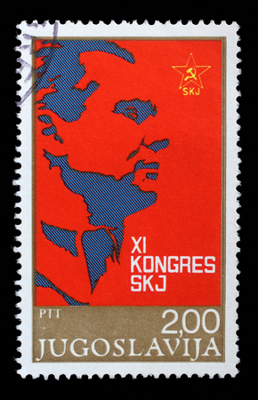Stamp printed in Yugoslavia for the XI Congress of the Communist Party of Yugoslavia, circa 1978. Redactioneel