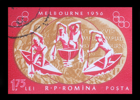olympiad: Stamp printed in ROMANIA , shows 1956 Summer Olympics, Games of the XVI Olympiad, circa 1956 Editorial