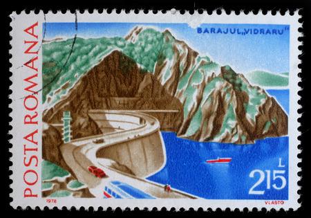 dams: Stamp printed in Romania shows Hydrotechnic Stations Dams  Vidraru, circa 1978. Editorial