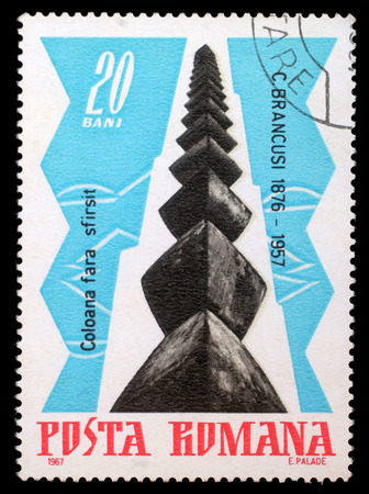 widening: Stamp printed by Romania, shows The Infinite Column, by Brancusi, circa 1967