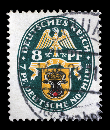 philatelic: Stamp printed in the German Reich shows Coat of arms, Charity Stamps, circa 1928.