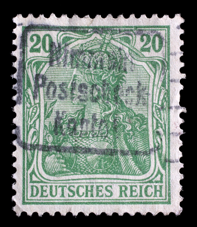 allegory: Stamp printed in Germany shows Germania (Allegory, Personification of Germany), without inscription, series Germanania, circa 1900