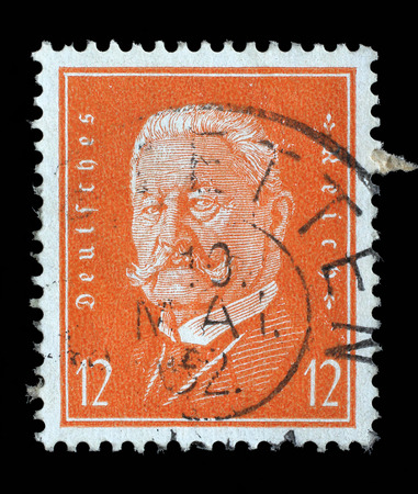 hindenburg: Stamp printed in the German Reich shows Paul von Hindenburg (1847-1934), 2nd President of the German Reich, circa 1928.