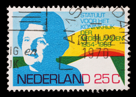 juliana: Stamp printed in Netherlands shows portrait of Queen Juliana, circa 1969