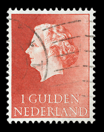 gulden: Stamp printed in Netherlands shows portrait of Queen Juliana. Was Queen of Netherlands in the period September 4, 1948 to April 30, 1980. Editorial