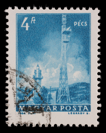 pecs: Stamp printed in Hungary shows Pecs TV Tower, with the same inscription, from series Transport and Telecommunication, circa 1964