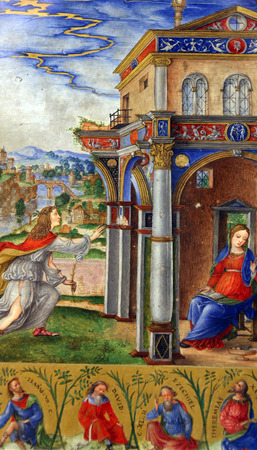 annunciation of mary: Matteo da Milano: miniatures from the breviary of Alfonso I dEste: Annunciation of the Virgin Mary, Old Masters Collection, Croatian Academy of Sciences, December 08, 2014 in Zagreb, Croatia