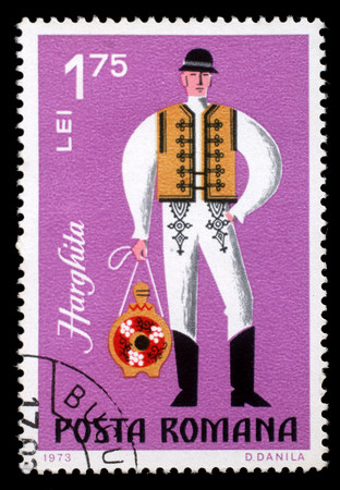 philatelist: Stamp printed in Romania shows image of a Harghita man, from the regional costumes series, circa 1973