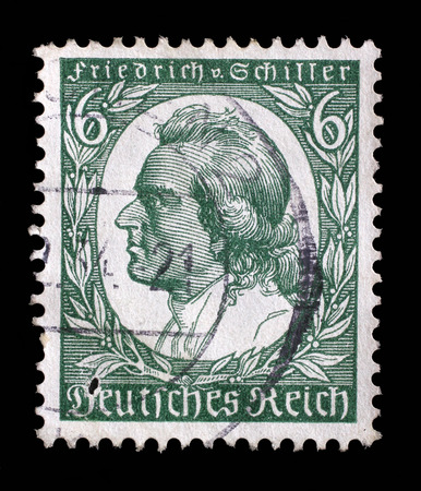 historian: Stamp printed in GERMANY shows image of Johann Christoph Friedrich von Schiller(10 November1759- 9 May 1805) was a German poet, philosopher, historian, and playwright, circa 1935.