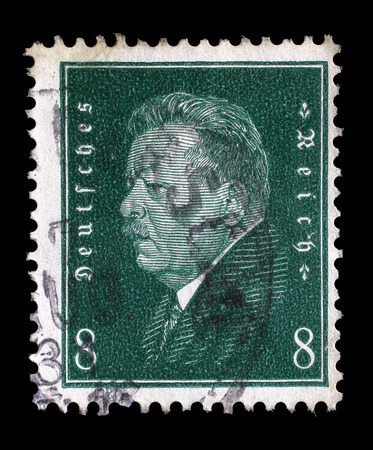 philatelic: Stamp printed in the German Reich shows Friedrich Ebert (1871-1925), 1st President of the German Reich, circa 1928. Editorial