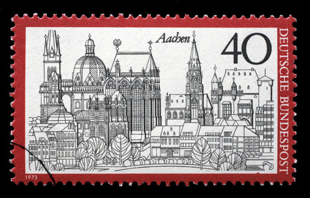 bundespost: Stamp printed in Germany from the Tourism issue shows Aachen, circa 1973.