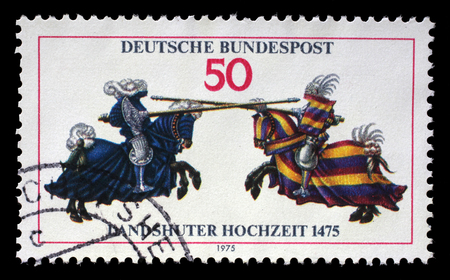 landshut: Stamp printed in the Germany shows Joust, from Jousting Book of William IV, 500th Anniversary of the Wedding of Landshut, circa 1975 Editorial