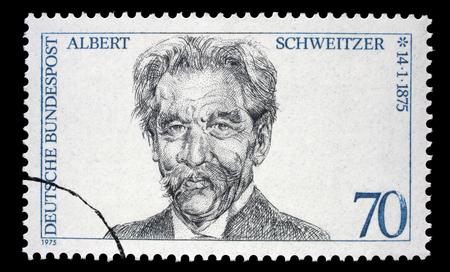 Stamp printed in GDR (East Germany) shows Albert Schweitzer, circa 1975