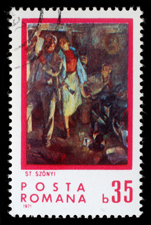 proclamation: Stamp printed by Romania, shows picture poeple reading proclamation, by Stefan Szonyi (1913 - 1966), circa 1971