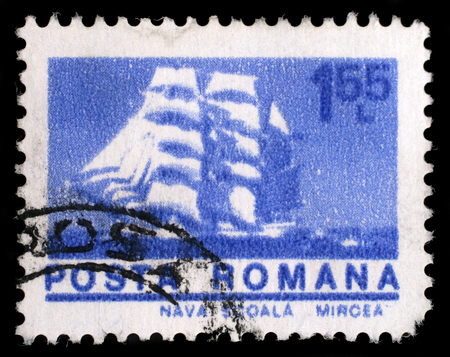 barque: Stamp printed in Romania shows Cadet barque Mircea, with the same inscription, from the series Ships, circa 1974 Editorial