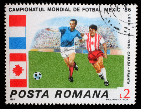 football world cup: Stamp printed in Romania shows Football World Cup, Mexico, circa 1986.