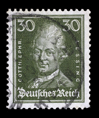 Reich: Stamp printed in the German Reich shows image of Gotthold Ephraim Lessing, the writer and philosopher, series, circa 1926