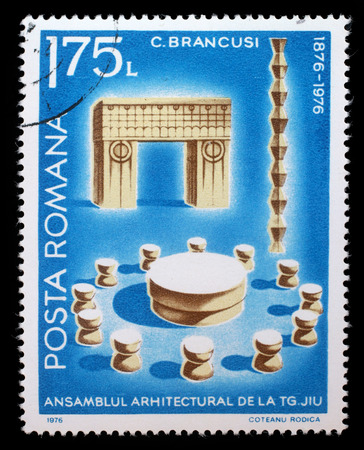 constantin: Stamp printed in Romania shows Architectural Assembly by Constantin Brancusi, circa 1976. Editorial