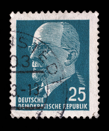 east germany: Stamp printed in German Democratic Republic - East Germany shows Chairman Walter Ulbricht (communist politician, first secretary of Socialist Unity Party, leader), circa 1961 Editorial