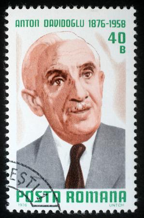 anton: Stamp printed in Romania shows Anton Davidoglu, matematician, circa 1976. Editorial