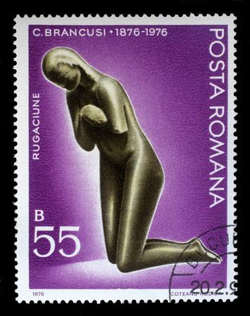 constantin: Stamp printed in Romania shows sculpture of Prayer by Constantin Brancusi (1876-1957), sculptor, circa 1976.