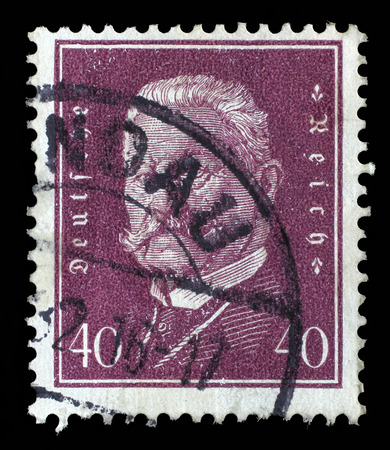 Reich: Stamp printed in the German Reich shows Paul von Hindenburg (1847-1934), 2nd President of the German Reich, circa 1928.