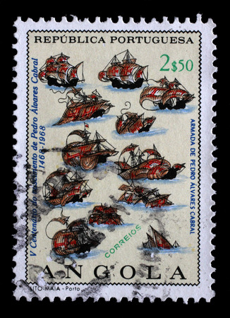 fleet: Stamp printed in the Angola shows Fleet of P. A. Cabral, Explorer, 500th Anniversary of the Birth of Pedro Cabral, circa 1968. Editorial