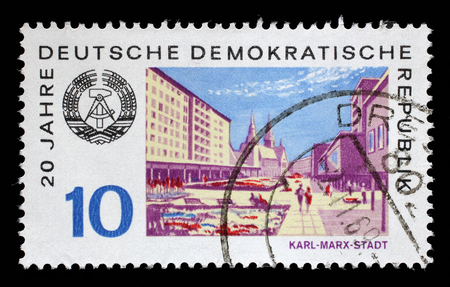 gdr: Stamp printed in GDR shows View of Karl Marx Stadt, circa 1969