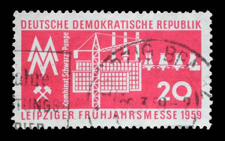 gdr: Stamp printed in GDR shows Leipzig Fair, circa 1959