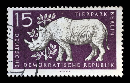 zoological: Stamp printed in GDR shows Rhinoceros, Berlin, German Zoological Garden, circa 1956