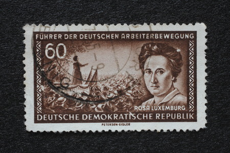 theorist: Stamp printed in GDR shows Rosa Luxemburg, Marxist theorist, philosopher, economist and revolutionary socialist, circa 1955 Editorial