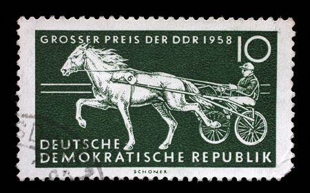 gdr: Stamp printed in GDR shows Trotter, Race Horse, International Horse Racing, Berlin, circa 1958