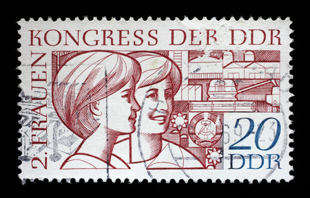 gdr: Stamp printed in GDR (East Germany), shows two young women, devoted to the Second Congress of Women GDR, circa 1969