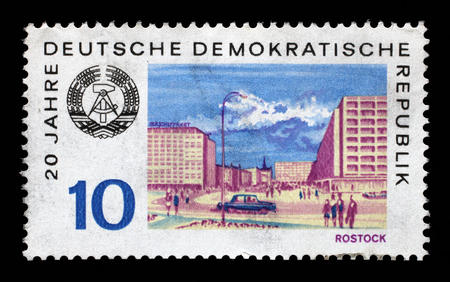 gdr: Stamp printed in GDR shows View of Rostock, circa 1969