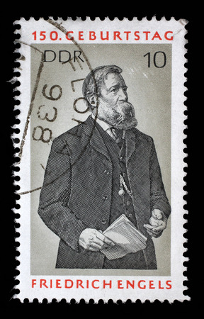 theorist: Stamp printed in GDR shows Friedrich Engels, Social Scientist, Political Theorist and Marxist, circa 1970