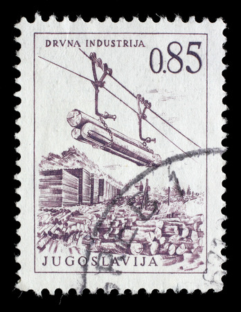 lumber industry: Stamp printed in Yugoslavia shows lumber industry, circa 1966