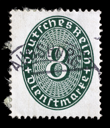 numeric: Stamp printed in Germany shows numeric value, circa 1927.
