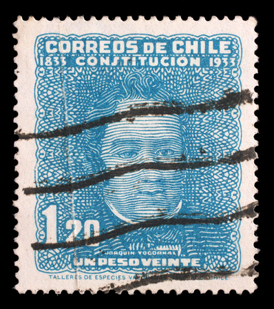 minister of war: Stamp printed in Chile shows Joaqu�?�n Tocornal, chilean political figure, circa 1933 Editorial