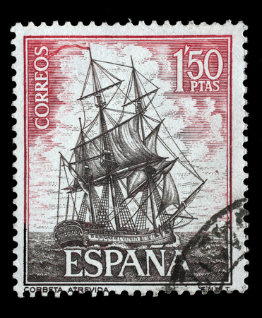estampilla: Stamp printed in Spain from the Spanish Navy Commemoration. Ships issue shows Corvette Atrevida, circa 1964.