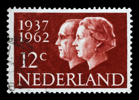 juliana: Stamp printed in Netherlands shows portraits of Queen Juliana (1909-2004) and Prince Bernhard (1911-2004), circa 1962