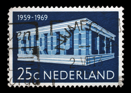 stempeln: Stamp printed in the Netherlands, shows EUROPA an CEPT in the form of the temple, circa 1969