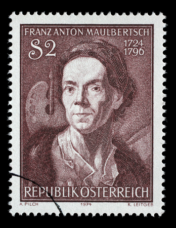 engraver: Stamp printed by Austria, shows Franz Anton Maulbertsch, Austrian painter and engraver , circa 1974