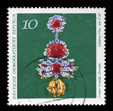 Stamp printed in GDR from the Art, The Grnes Gewolbe Dresden issue shows golden Fleece, circa 1971.