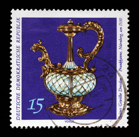 Stamp printed in GDR from the Art, The Grnes Gewolbe Dresden issue shows magnificent pot, circa 1971.