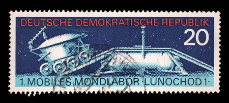 postmail: Stamp printed in East Germany shows the soviet moon machine Lunokhod - 1, circa 1971