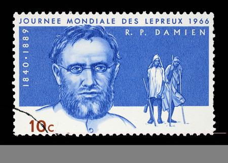 lepra: Sello impreso en Ruanda muestra el padre Joseph Damien, D�a Mundial de la Lepra, alrededor del a�o 1966.