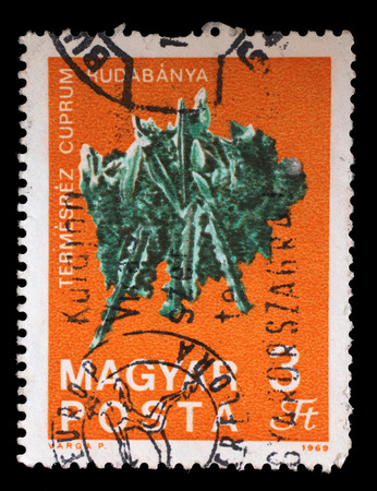 perforated: Stamp printed in Hungary shows Copper from Rudabanya from the series Fossils and Minerals, circa 1969.